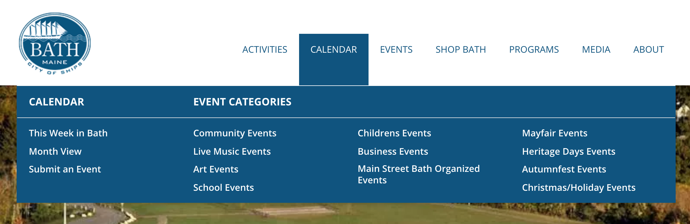 WordPress event categories used to highlight local tourist events