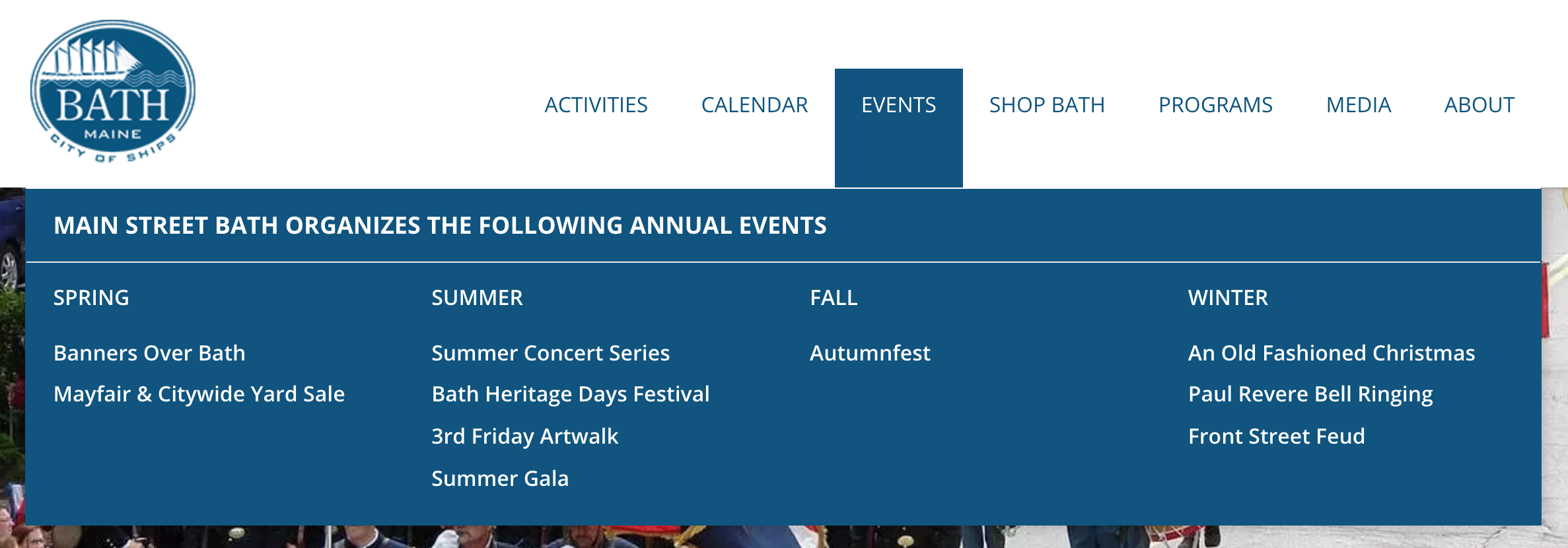 Events featured in the main nav of visitbath.com