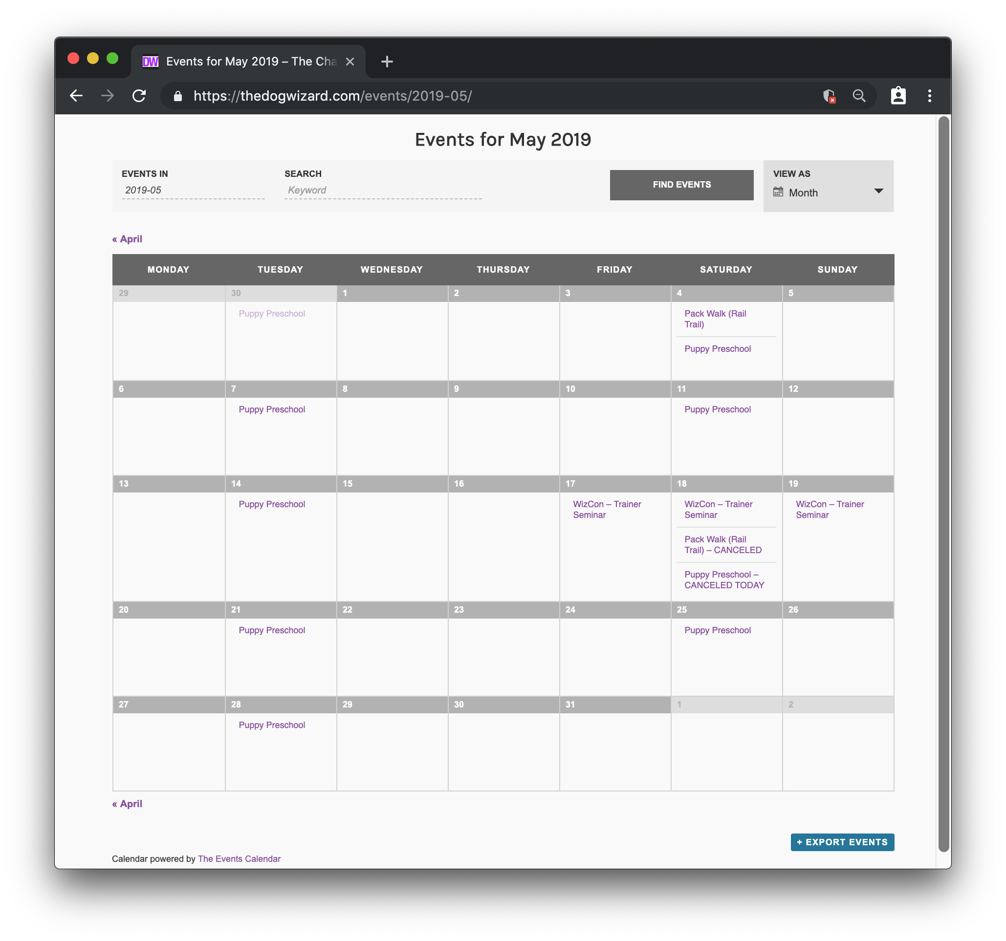 A screenshot of The Dog Wizard website calendar for the month of May 2019.