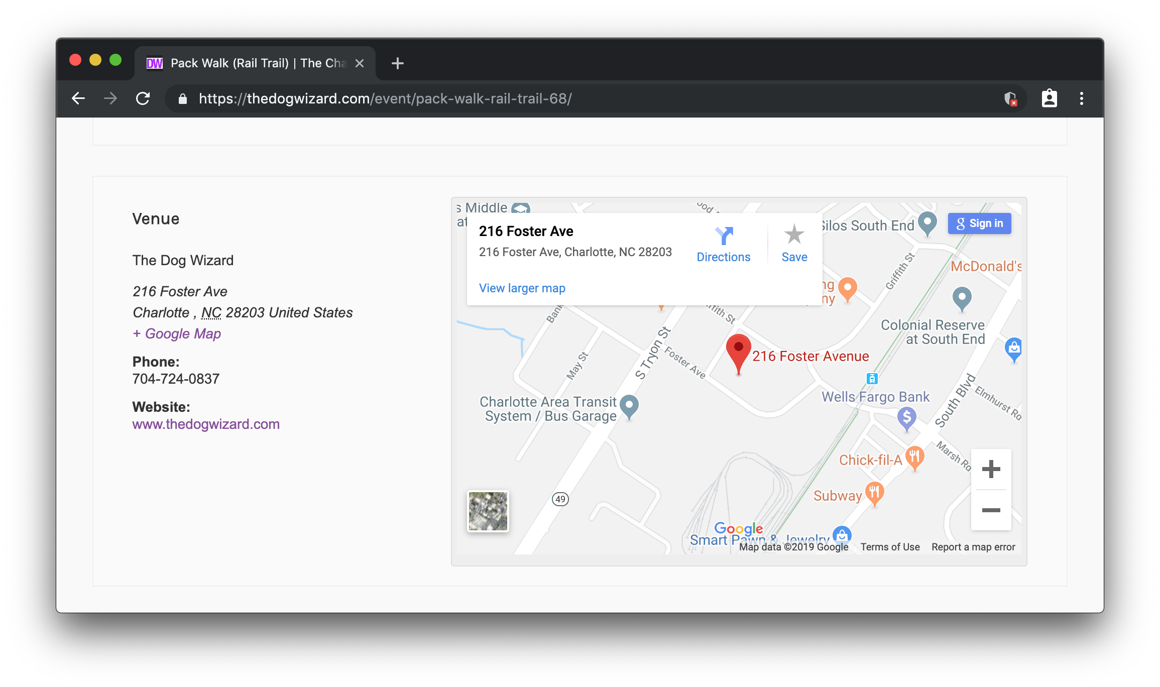 A screenshot of a Google Map embedded in the event on The Dog Wizard event calendar.