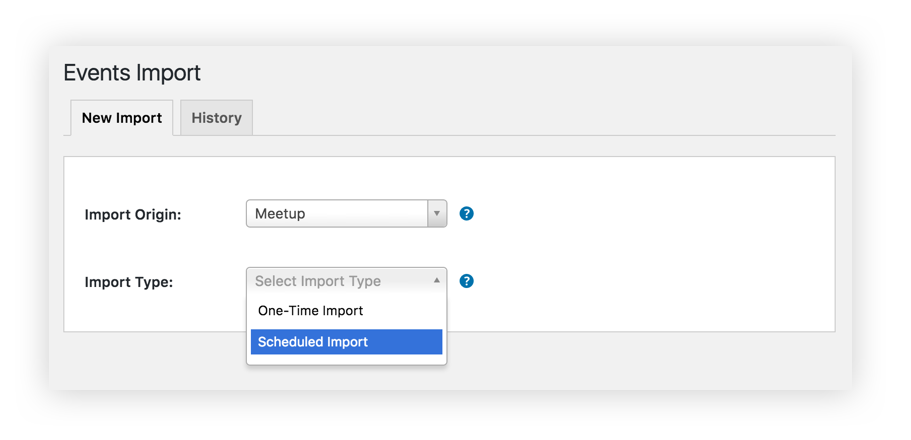 A screenshot of the Event Aggregator import screen showing Meetup as the selected option and a dropdown to define whether this is a one-time or recurring import.