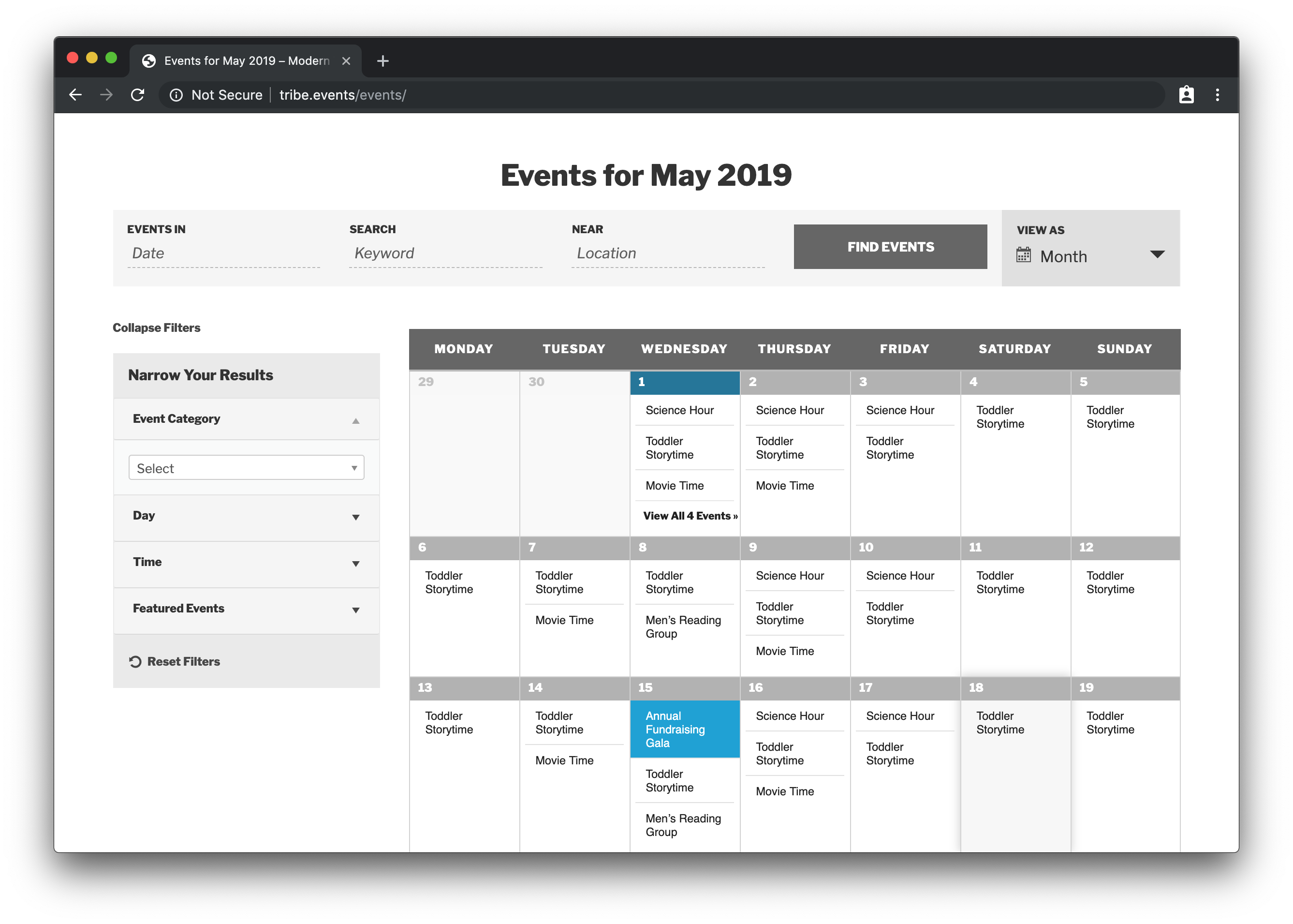 A screenshot of a website using The Events Calendar with events in a month grid view. The calendar is on the left and a sidebar containing a list of filters is on the right, including filters for Event Category, Day, Time and Featured.
