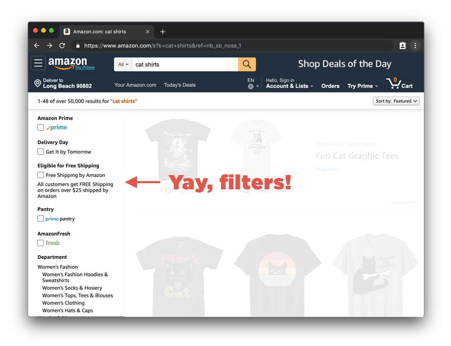 A screenshot of an Amazon.com search screen for cat shirts where the results are displayed as tiles of product images on the right and a list of filters are on the left as a sidebar.