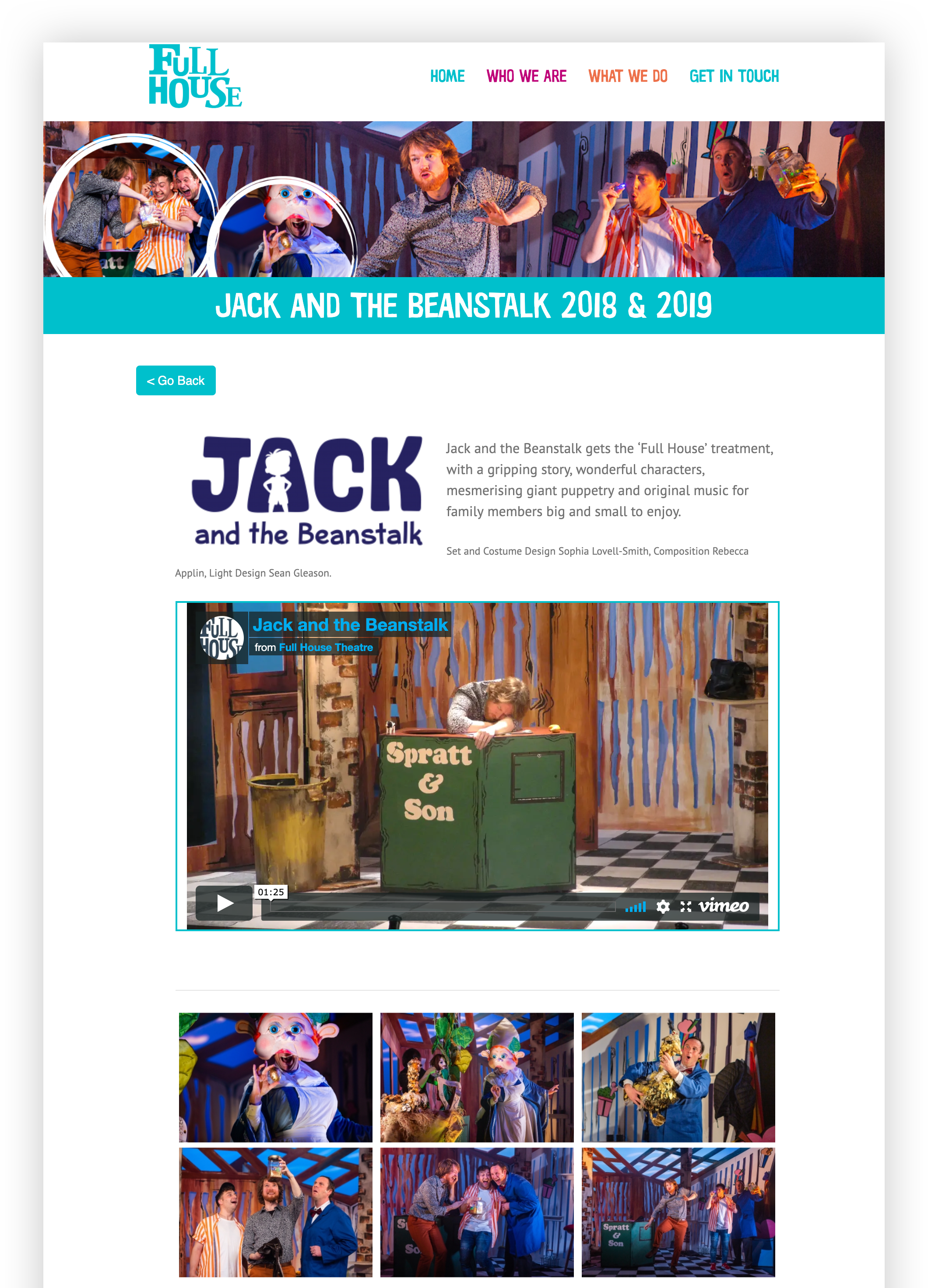 A screenshot of a Full House performance event page for Jack and the Beanstalk. There an intro paragraph followed by an embedded video and then an embedded gallery of six photos.