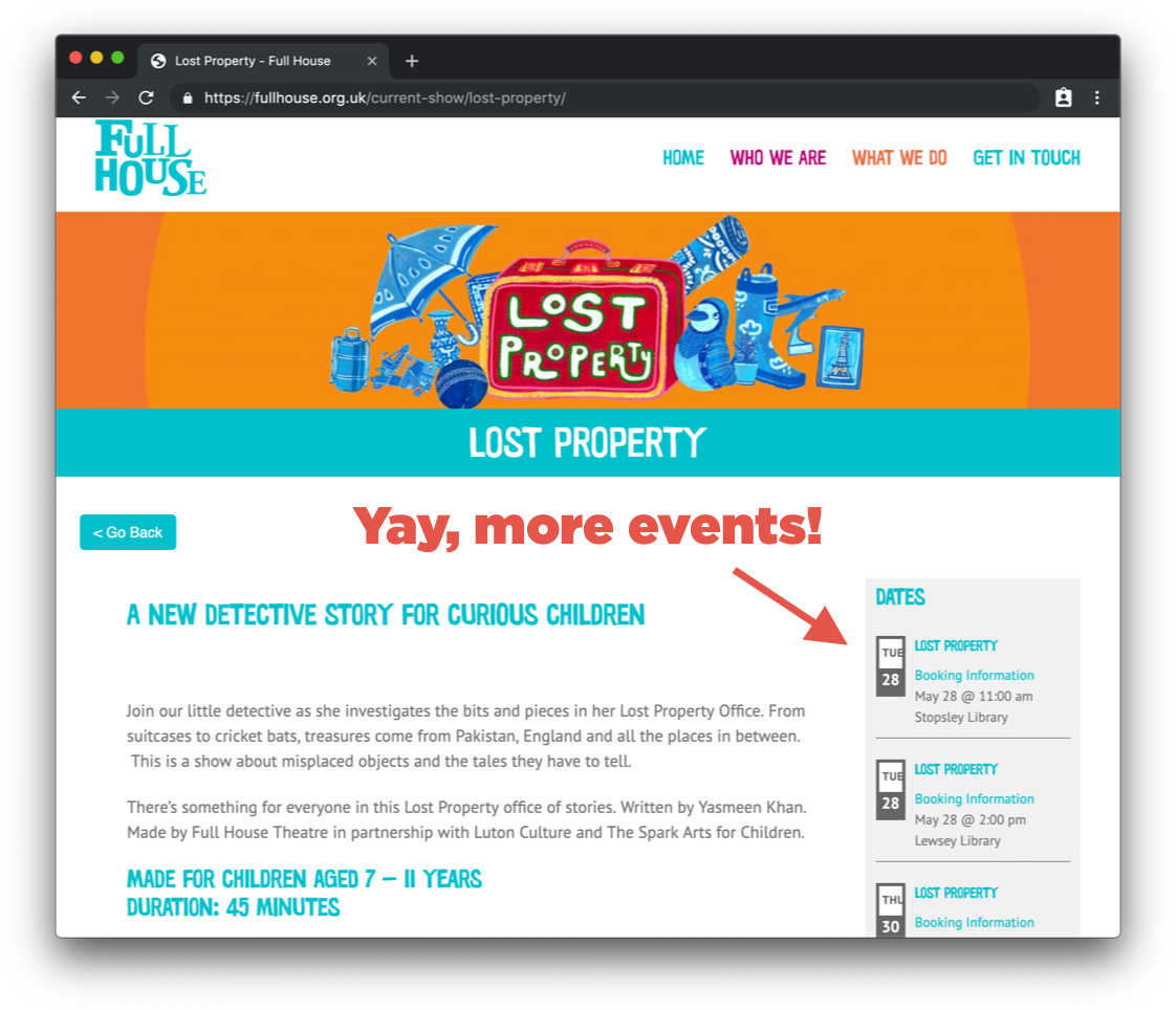 A screenshot of an upcoming event on the Full House website. There is event information in the main area of the page on the left-hand side, then a sidebar that lists more upcoming events inside of an embedded widget.