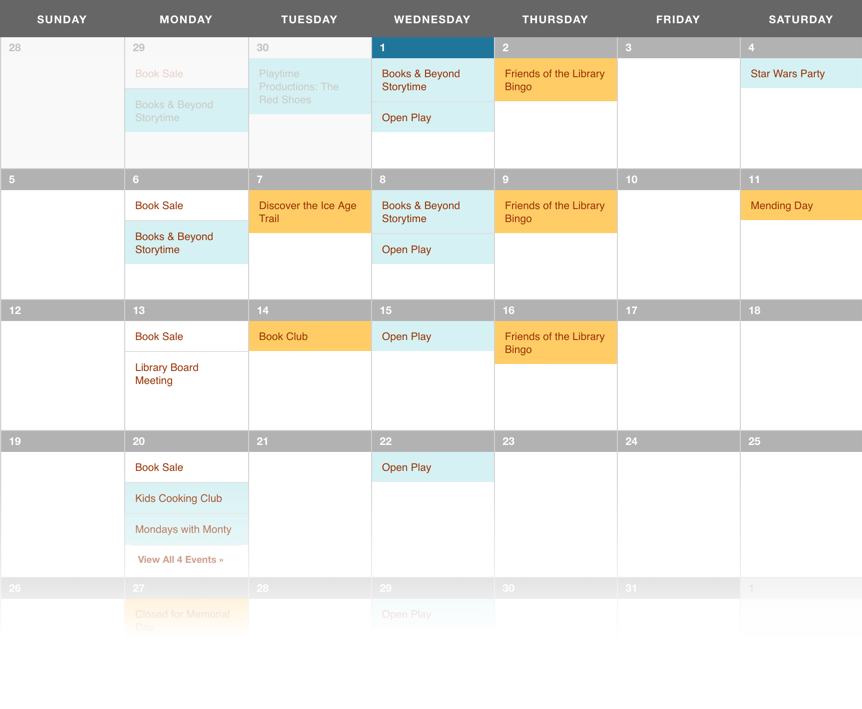 A screenshot of the Saulk City Public Library calendar for the month of May 2019 showing events color coded in light blue and gold.