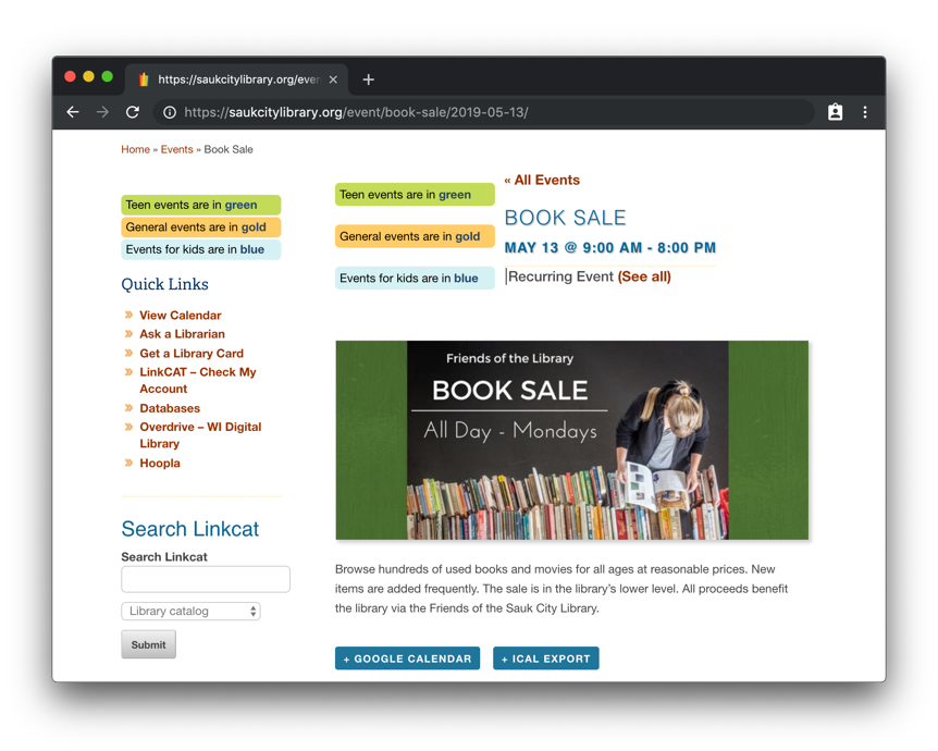 A screenshot of the details for an event on the Saulk City Public Library website for a Book Fair, showing the event name, dates, featured image and event description.