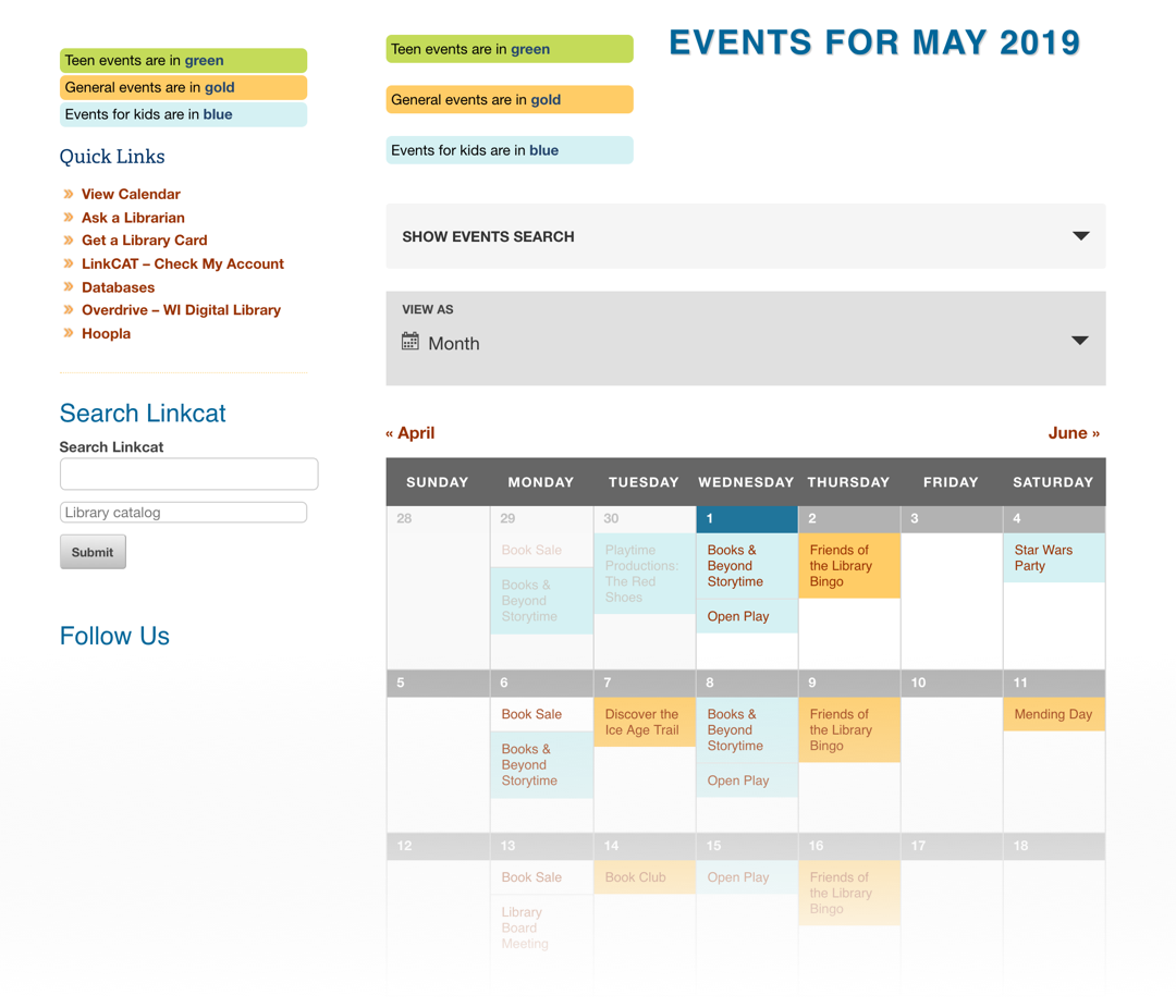 A screenshot of the Saul City Public Library calendar showing event for May 2019 in a month grid. The events are color-coded in light blue and gold.