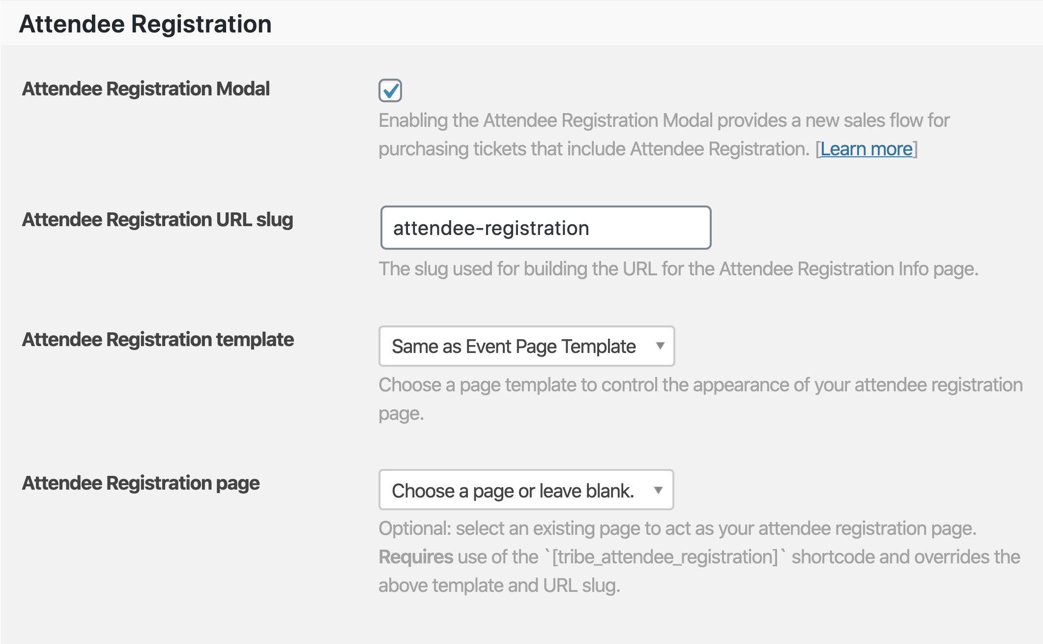 Attendee Registration settings and options