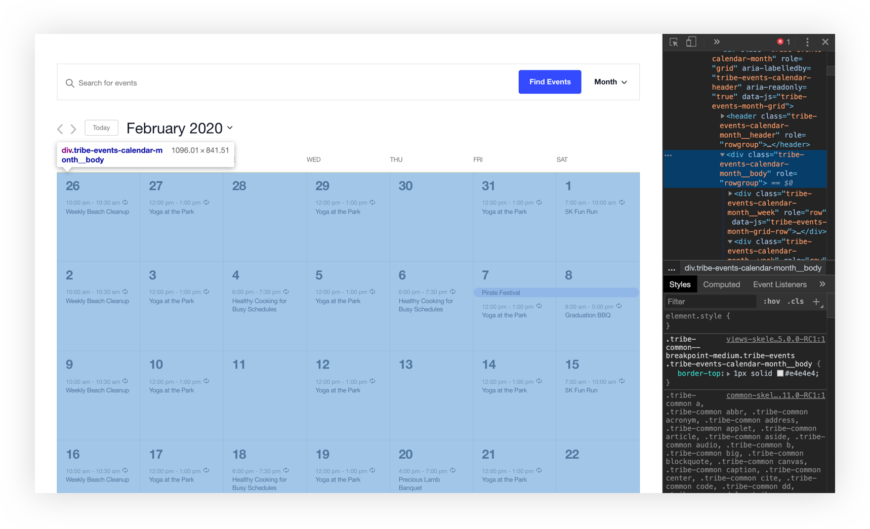 Screenshot off the calendar month view with Chrome's developer tools window open.