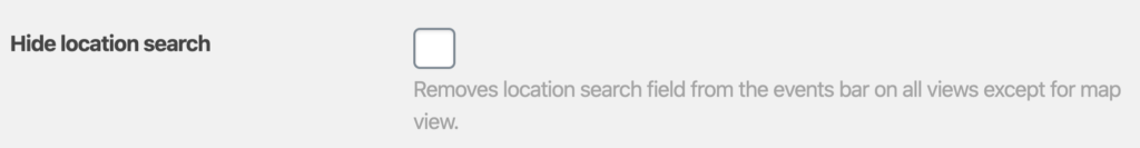 Screenshot of the Hide location search checkbox in the calendar settings.