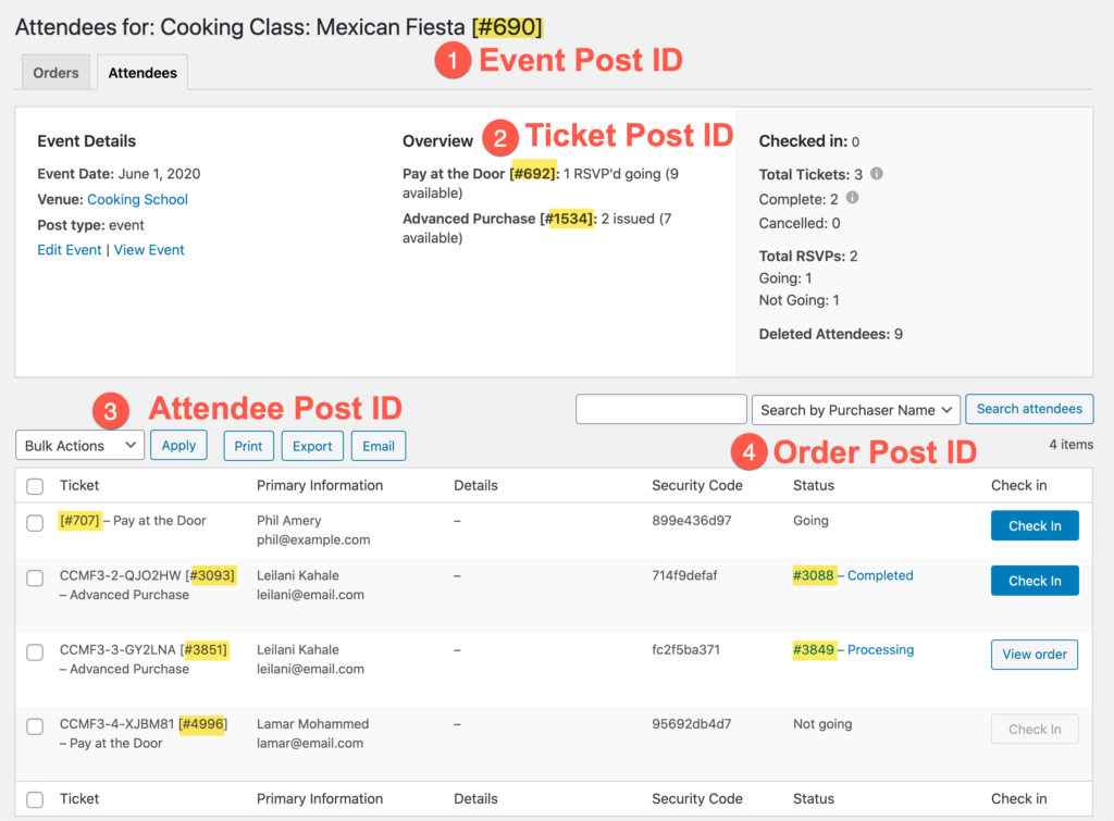 Diagram showing a screenshot of the attendee reports page for an event where the Event Post ID is highlighted on the screen.