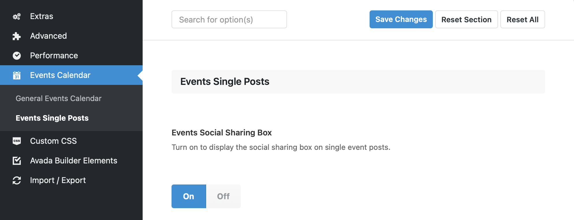 Showing the settings screen for event single posts. The menu for Avada's global settings is dark and located to the left and the Events Calendar item is highlighted in blue. The event post settings are located to the right of the menu again a white background, showing an option for social sharing.