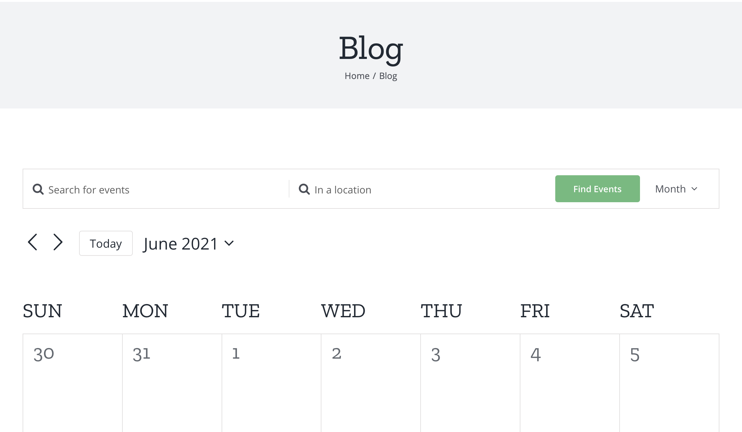 Showing the calendar month view with a light gray header that says Blog as the page title in a large font followed by breadcrumbs that display links to the site's Home and Blog.