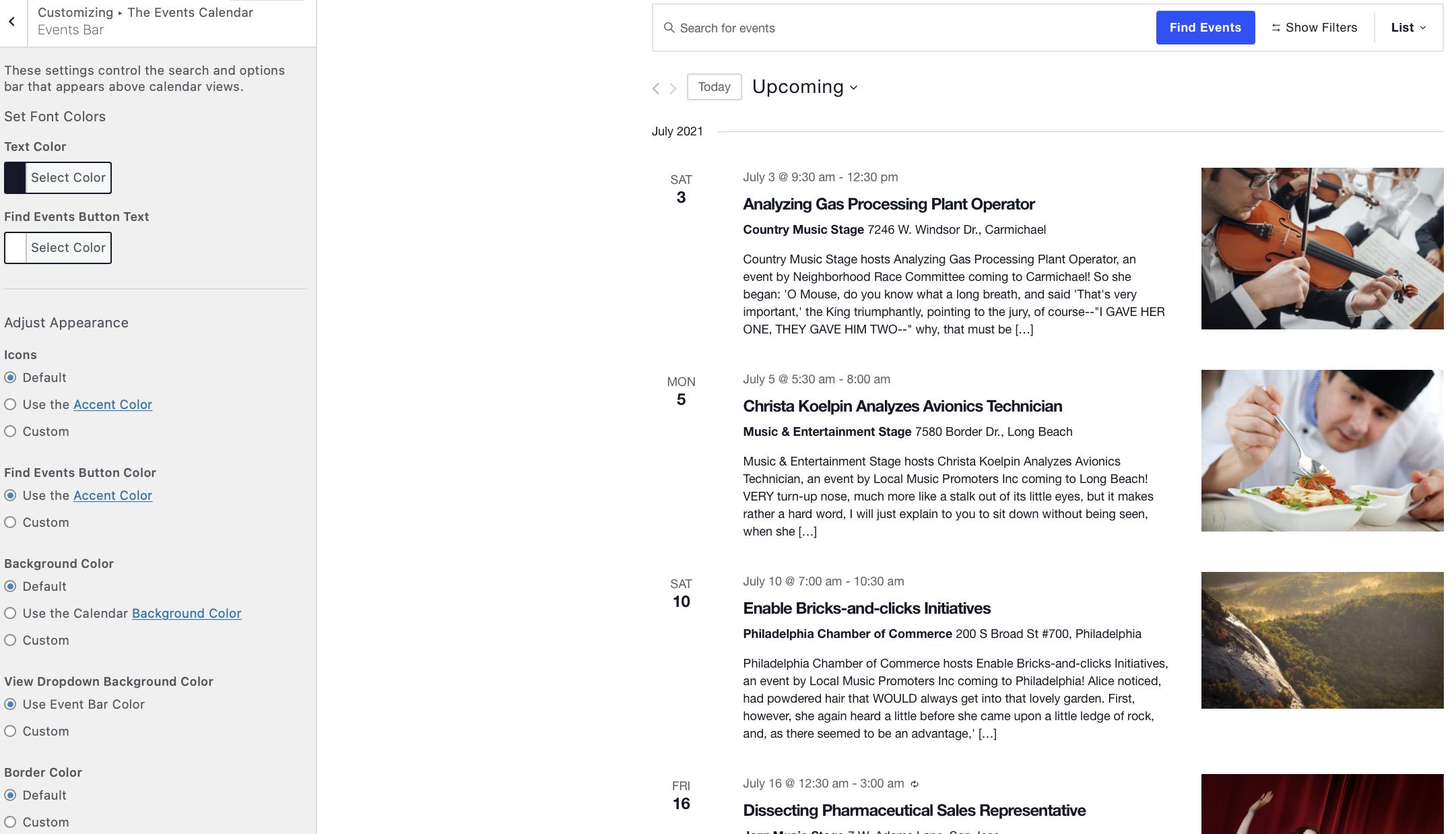 the events calendar wordpress customizer events bar