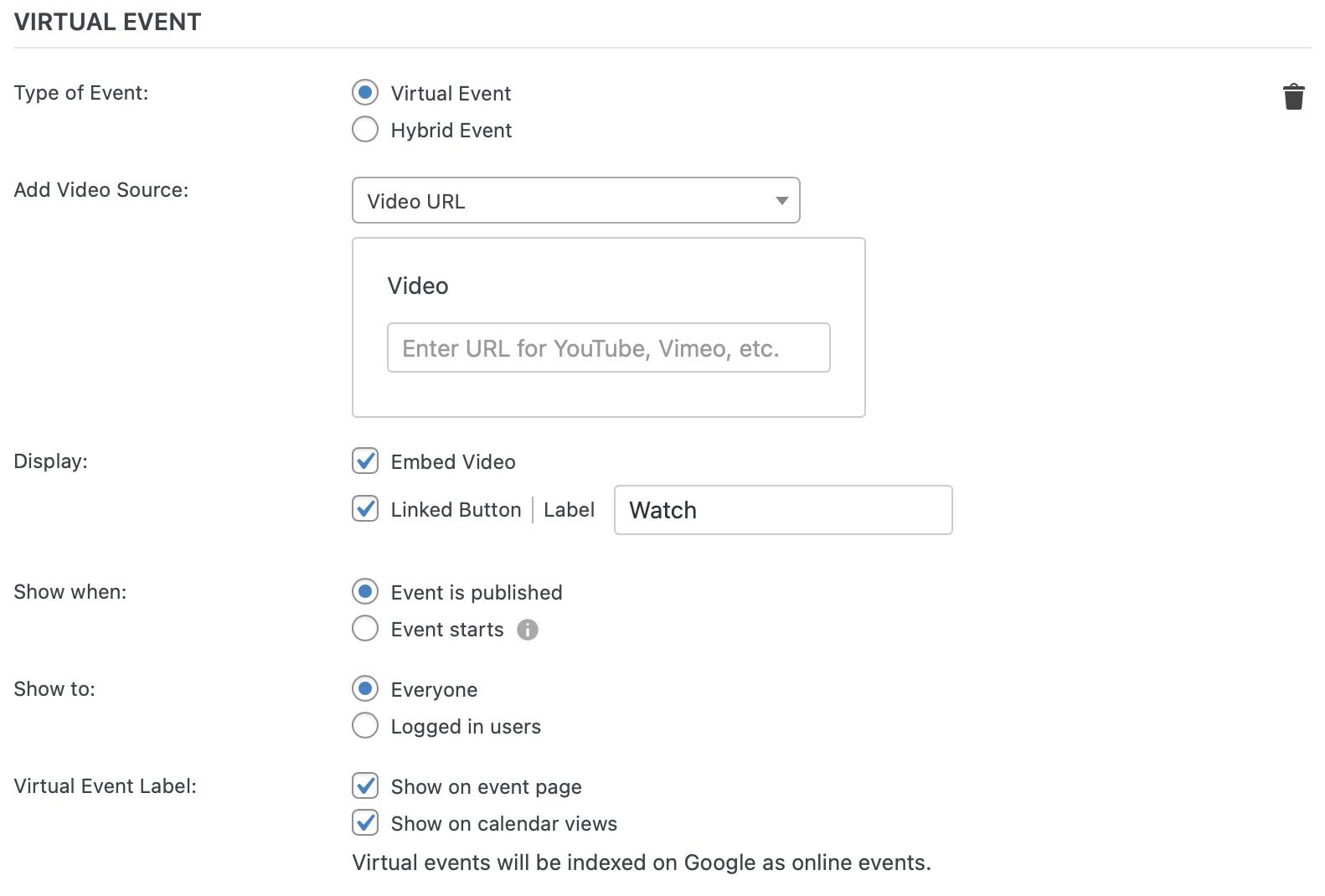 Configure Virtual Events page