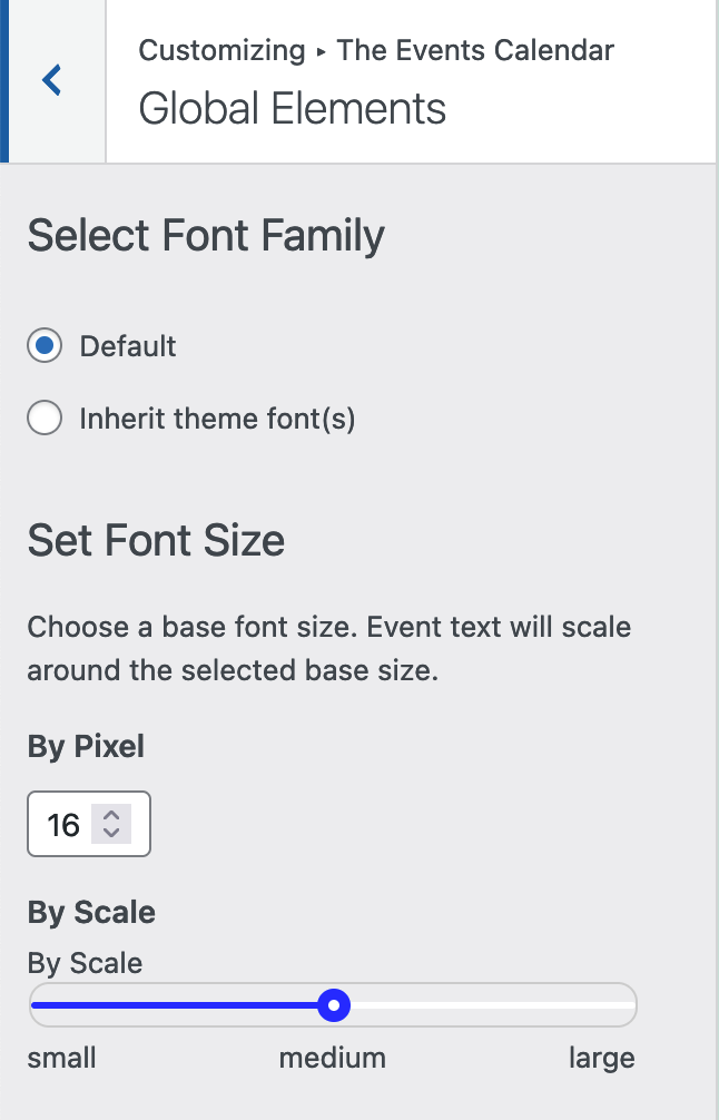 The customizer settings for The Events Calendar's global elements, including font family, and font size.
